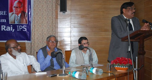 Prof. VN Rai addressing the K. P. Singh Memorial Lecture, AMU while L to R - Prof. AMU VC, Prof. Shaharyar and Prof. Imtiaz Hasnan