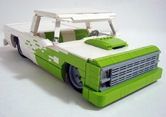 1980 Chevy C10...Limelight! (Lino M) Tags: show white green truck lego pickup chevy lime build 1980 limelight challenge lino lugnuts c10 thefoodweeat