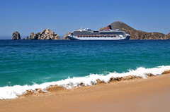 Carnival Splendor at Cabo San Lucas, Mexico (Serge Freeman) Tags: ocean cruise summer vacation sky seascape mexico sand rocks waves ship cabosanlucas