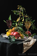 Harvest (Allison Achauer) Tags: red stilllife green glass leaves yellow fruit lemon wine crystal napkin branches knife pomegranate plate fresh 365 cloth handkerchief platter meyer goblet strobist afsnikkor50mmf14g