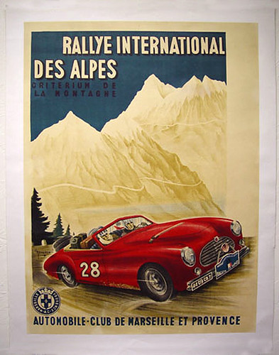 016-Rallye International des Alpes 1950's-© 2010 Vintage Auto Posters. All Rights Reserved