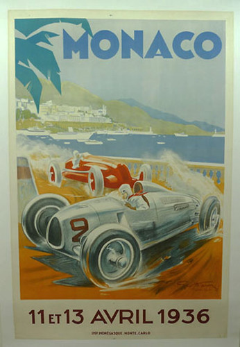 001-1936 Monaco Grand Prix-© 2010 Vintage Auto Posters. All Rights Reserved
