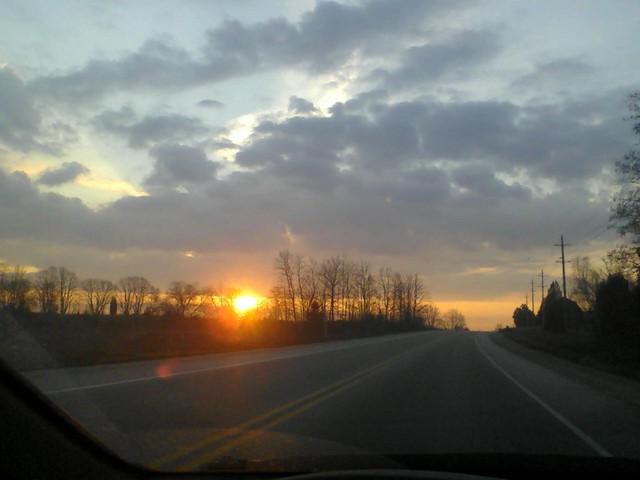 the road at dawn