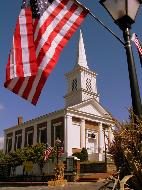 Jonesborough, TN First Baptist Church with Flag