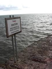 Warning Sign Teignmouth Sea wall Devon (Bridgemarker Tim) Tags: oceans storms teignmouth dawlish shaldon seawalls