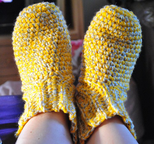 Crochet yellow slipper socks