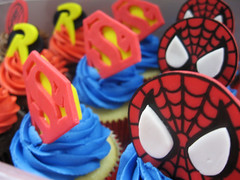 Superhero Cupcakes (Jenny Burgesse) Tags: robin cupcakes spiderman superman superhero fondant geeksweets comicbookshoppeartgala2010