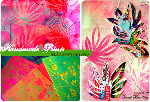 stencil prints on fabric, hand cut stencils from postcards