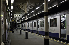 All Calm on the District Line (Sven Loach) Tags: uk blue england urban london station underground subway evening waiting metro tube platform passengers stop commute districtline commuters eastlondon londonist bromleybybow