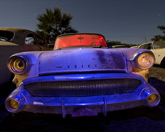 The Purple Baleen (Lost America) Tags: lightpainting car night century wagon buick fullmoon 1957 junkyard nocturnes thebigm