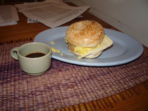 Day 2: Bagel with scrambled eggs and fontina