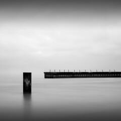 Juxtaposed (Jeff Gaydash) Tags: longexposure blackandwhite chicago water square seascapes jetty lakemichigan greatlakes zen pilings minimalism lakescapes nd110