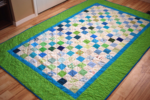 Blue and Green Checkerboard Quilt
