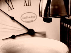 Time to Relax = Coffee Time! (arjan.jongkees) Tags: relaxation macromonday arjanjongkees relaxing relax coffee nespresso time clock slowshutter dof kitchen ceramic cup coffeemachine olympus blackandwhite monocrome sepia