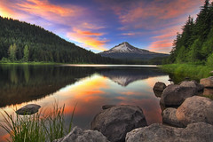 Sunset at Trillium Lake with Mount Hood - HDR (David Gn Photography) Tags: trees sunset sky mountain reflection nature grass clouds oregon landscape rocks wilderness mounthood hdr trilliumlake 9xp flickraward platinumheartaward canoneos7d sigma1020mmf35exdchsm platinumpeaceaward tripleniceshot mygearandmepremium mygearandmebronze garyrandallsbackyard sigma50th