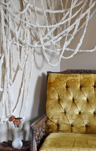 handspun & crocheted wall art