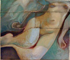 whisperer (Mantra Art) Tags: painting turquoise blues sensual oil mystical delicate figurative textural