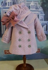 Earley 1900's Lavender  Reefer  Jacket  and hat (Keepersdollyduds) Tags: girl hat doll coat american samantha nellie 1904 ruching keepersdollyduds