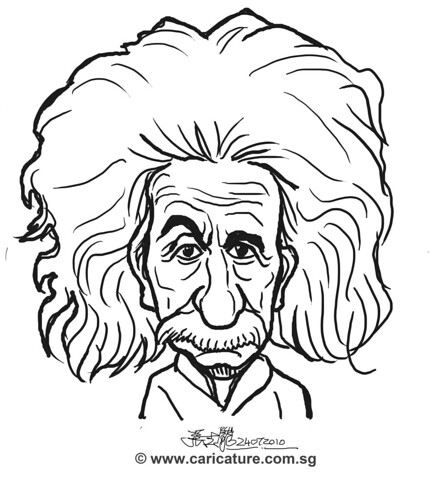digital caricature sketch of Albert Einstein - simple outline