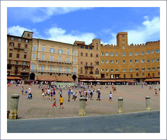 Sienne (Sorenza) Tags: old trip travel blue summer italy color colour architecture clouds geotagged photography photo colorful europe italia day place photos live sienna bleu tuscany campo piazza toscana toscane picturesque italie sienne pittoresque sorenza