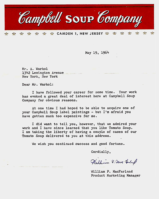 Letters of Note: I hear you like Tomato Soup