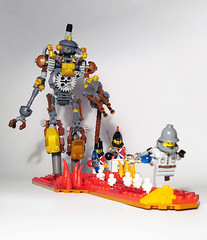 Mechanoid (captainsmog) Tags: mars robot gun shoot lego steam cannon copper soldiers minifigs gears vignette martian mecha flee automaton steampunk mocs moc mechanoid