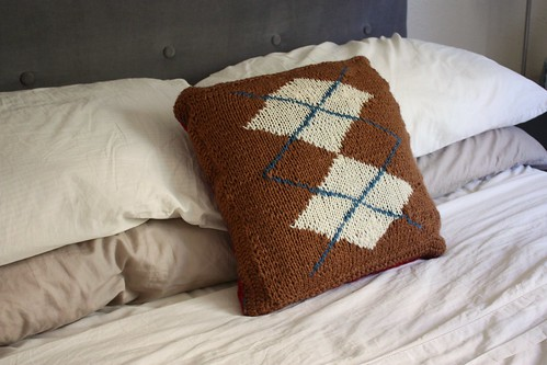 Large-Double Argyle Pillow, Brown Side