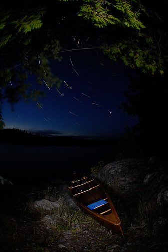 Star Trails and Canoe