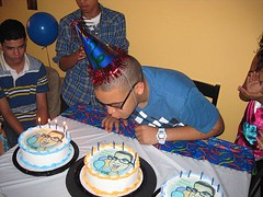 Karl blowing out candles