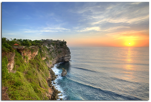 Sunset from the Indian Ocean @ The majestic cliff of the Uluwatu Temple, Bali