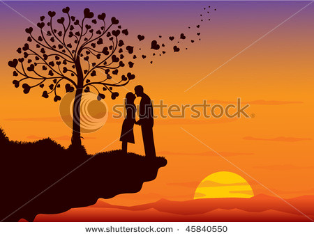 couple kissing sunset. Couple kissing on sunset