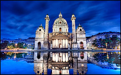 karlskirche wien (andreas gessl) Tags: vienna wien blue sky reflection building church architecture night kirche hdr karlsplatz karlskirche stcharlesschurch