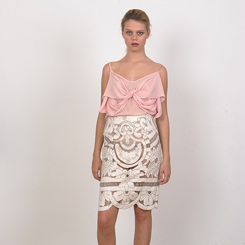 Handmade Embroidery Slim Skirt by Natalie C by wolfandbadger