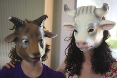 goat boy and his mother (cmacphotography) Tags: portrait boys cow women goat henry masks catherine marincounty 2010 age13 d3s