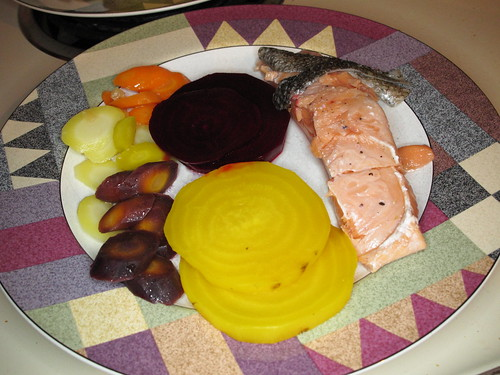 Sous-vide salmon, carrots, and beets