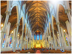 Boston's Holy Cross Cathedral (brooksbos) Tags: city blue light red people urban sunlight pope color church boston geotagged ma photography gold photo cathedral johnpaulii sony gothic columns newengland cybershot stainedglass historic mass bostonma southend sonycybershot romancatholic holycross bostonist sundaymass masschusetts lurvely holycrosscathedral 02116 thatsboston bostoncathedral dschx5v hx5v brooksbos