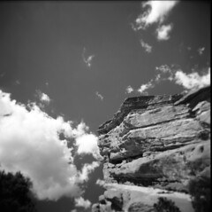 red rocks study 4 (donnievendetta) Tags: b red orange white black 120 6x6 film clouds contrast square holga lomo lomography colorado rocks fuji near w 4 lofi august denver study filter donnie fujifilm medium format 100 vignette gn vendetta 2010 acros