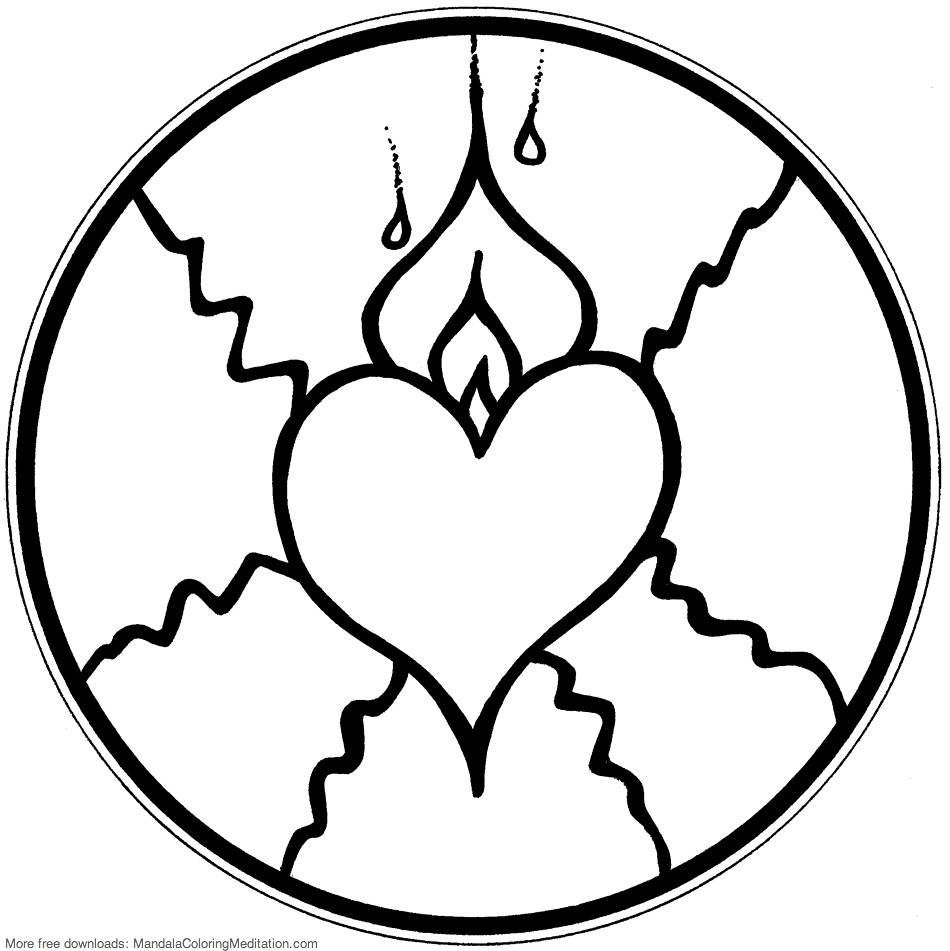 Printable Children Coloring Page Fire Heart Mandala Pages Tags