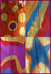 Dots, stars and stripes (Flimflim) Tags: wood texture colors collage tile colorful paint colours mosaic colourful mosaique