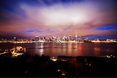 New York City (mudpig) Tags: city nyc newyorkcity longexposure cloud ny newyork reflection skyline night geotagged boat newjersey neon cityscape dusk nj newyorker esb bankofamerica hudsonriver empirestatebuilding gothamist unioncity chryslerbuilding hdr cloudscape newyorktimes newyorkerhotel weehawken lighttrail 4timessquare unionhill onepennplaza mudpig stevekelley