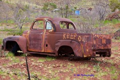 Keep out (Northern wanderer) Tags: old cars bush rust hill australia hills machinery ute burnt weathered westernaustralia harsh spinifex weathering pilbara marblebar hillsideroad canon5dmkii northernwanderer cometmine patricklow2012