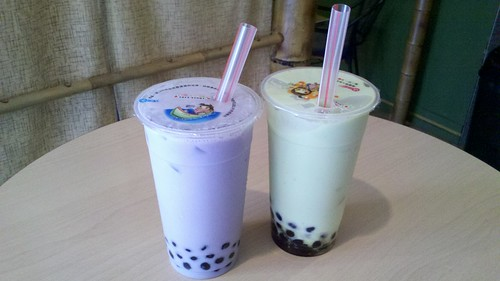 taro milk tea and avocado honeydew snowtwist