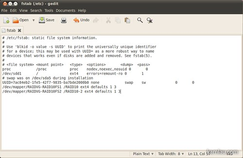 how to open fstab in linux