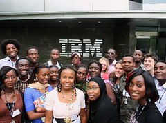 African students outside of IBM Headquarters
