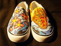 Japanse Koi & Sakura Shoes (damndirtyangel) Tags: shoe shoes paint hand painted sneakers kicks vans slip custom customize plimsolls sliponsneakers sliponplimsolls sliponsliponslipontennisshoes