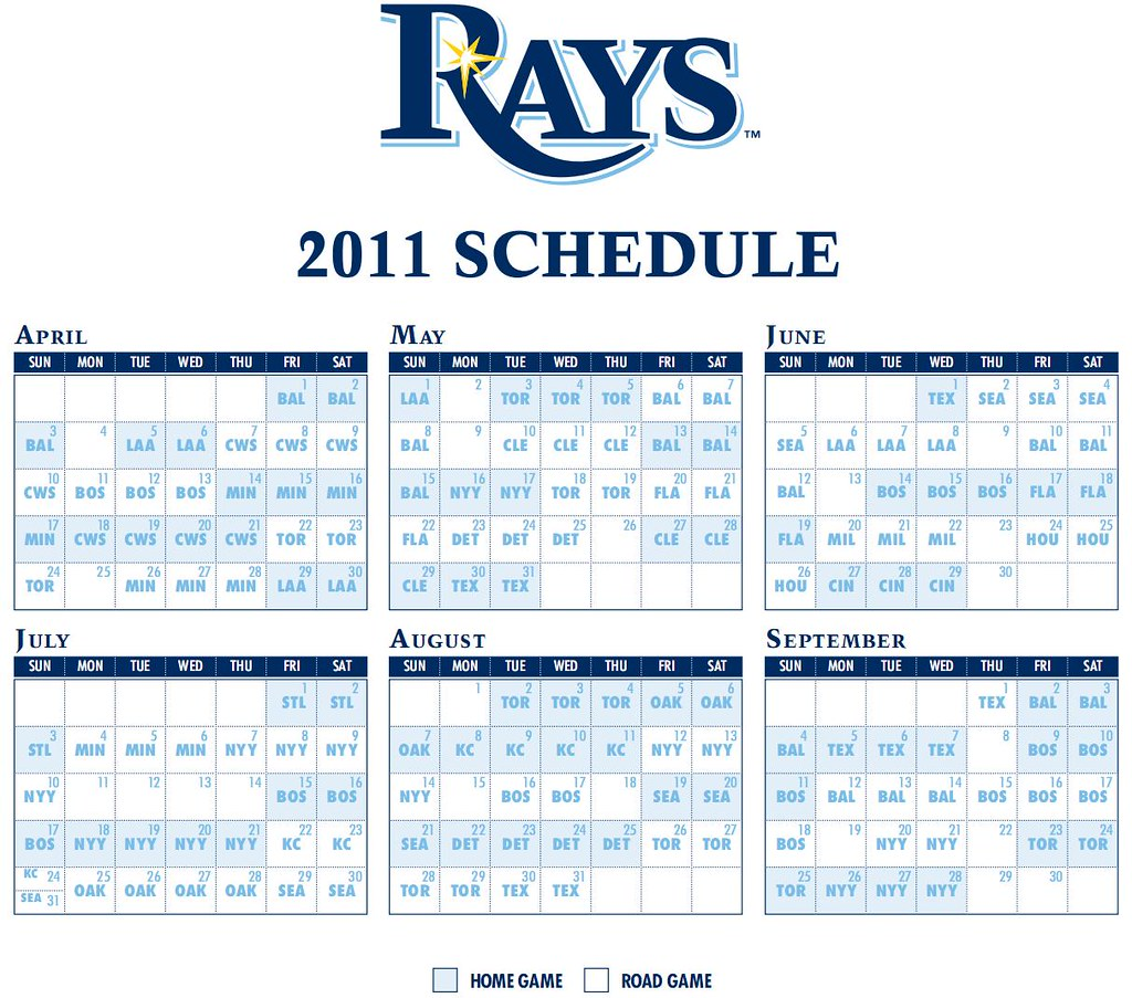 Rays Release 2011 Schedule