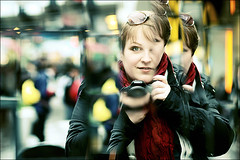 Photogirl (szefi) Tags: city autumn portrait urban woman selfportrait reflection fall scarf self canon reflections mirror sweden stockholm sergelstorg htorget 8518 canon450d canonef8518usm canonrebelxsi