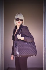 Off to work.. (Nada*) Tags: camera woman black sexy sunglasses fashion female work bag cool pretty purple kate laptop femme professional business lilac blond quilted wanted chic dslr handbag hue missk laptopbag photobag sexi accessory desired emera  pineapplestudios emerabag