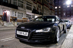 Audi R8 (David J. Anderson) Tags: auto camera winter holiday david cold slr london car night digital canon dark lens eos is automobile january fast 2nd exotic anderson vehicle 17 parked usm dslr audi 85 2010 r8 40d jaggie