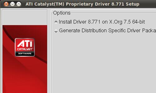 Schermata iniziale dell'installazione dei driver video Catalyst per Ubuntu.